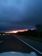 Retour sur Québec sous un coucher de soleil brulant